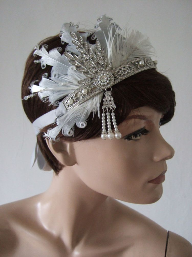"Silver White Goose Ostrich Feather Crystal Headband 1920s Downton Abbey Party Gatsby Flapper ""Dora"""